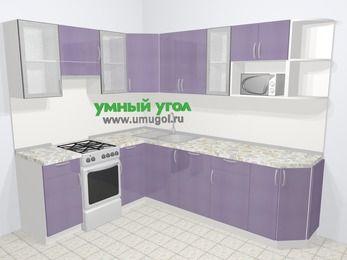 Кухни пластиковые угловые в современном стиле 6,8 м², 190 на 250 см, Сиреневый глянец, верхние модули 72 см, посудомоечная машина, модуль под свч, отдельно стоящая плита
