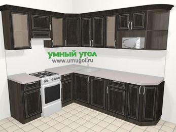 Угловая кухня МДФ патина в классическом стиле 6,8 м², 190 на 250 см, Венге, верхние модули 72 см, посудомоечная машина, модуль под свч, отдельно стоящая плита