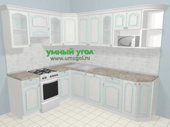 Угловая кухня МДФ патина в стиле прованс 6,8 м², 190 на 250 см, Лиственница белая, верхние модули 72 см, посудомоечная машина, модуль под свч, отдельно стоящая плита