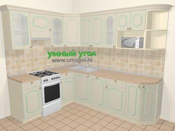 Угловая кухня МДФ патина в стиле прованс 6,8 м², 190 на 250 см, Керамик, верхние модули 72 см, посудомоечная машина, модуль под свч, отдельно стоящая плита