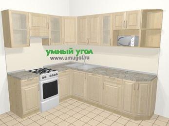 Угловая кухня из массива дерева в классическом стиле 6,8 м², 190 на 250 см, Светло-коричневые оттенки, верхние модули 72 см, посудомоечная машина, модуль под свч, отдельно стоящая плита
