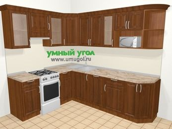 Угловая кухня из массива дерева в классическом стиле 6,8 м², 190 на 250 см, Темно-коричневые оттенки, верхние модули 72 см, посудомоечная машина, модуль под свч, отдельно стоящая плита