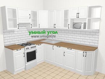 Угловая кухня из массива дерева в скандинавском стиле 6,8 м², 190 на 250 см, Белые оттенки, верхние модули 72 см, посудомоечная машина, модуль под свч, отдельно стоящая плита