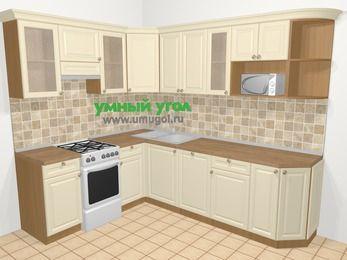 Угловая кухня из массива дерева в стиле кантри 6,8 м², 190 на 250 см, Бежевые оттенки, верхние модули 72 см, посудомоечная машина, модуль под свч, отдельно стоящая плита