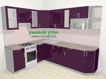 Угловая кухня МДФ глянец в современном стиле 6,8 м², 190 на 250 см, Баклажан, верхние модули 72 см, посудомоечная машина, модуль под свч, отдельно стоящая плита