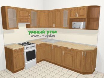 Угловая кухня МДФ патина в классическом стиле 6,8 м², 190 на 250 см, Ольха, верхние модули 72 см, посудомоечная машина, модуль под свч, отдельно стоящая плита