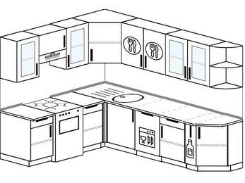 Планировка угловой кухни 6,8 м², 190 на 250 см: верхние модули 72 см, отдельно стоящая плита, посудомоечная машина, корзина-бутылочница