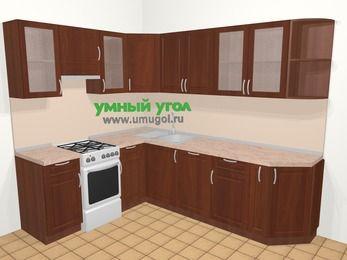 Угловая кухня МДФ матовый в классическом стиле 6,8 м², 190 на 250 см, Вишня темная, верхние модули 72 см, посудомоечная машина, отдельно стоящая плита