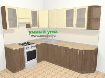Угловая кухня МДФ матовый в современном стиле 6,8 м², 190 на 250 см, Ваниль / Лиственница бронзовая, верхние модули 72 см, посудомоечная машина, отдельно стоящая плита