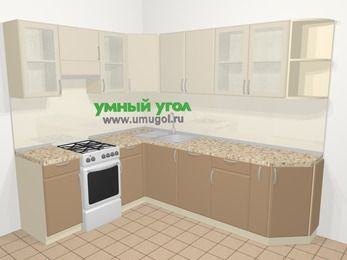 Угловая кухня МДФ матовый в современном стиле 6,8 м², 190 на 250 см, Керамик / Кофе, верхние модули 72 см, посудомоечная машина, отдельно стоящая плита