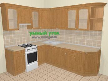 Угловая кухня МДФ матовый в стиле кантри 6,8 м², 190 на 250 см, Ольха, верхние модули 72 см, посудомоечная машина, отдельно стоящая плита