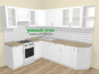 Угловая кухня МДФ матовый  в скандинавском стиле 6,8 м², 190 на 250 см, Белый, верхние модули 72 см, посудомоечная машина, отдельно стоящая плита