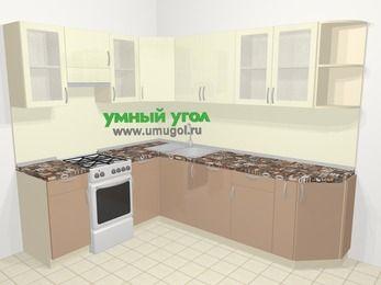 Угловая кухня МДФ глянец в современном стиле 6,8 м², 190 на 250 см, Жасмин / Капучино, верхние модули 72 см, посудомоечная машина, отдельно стоящая плита