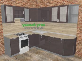 Угловая кухня МДФ глянец в стиле лофт 6,8 м², 190 на 250 см, Шоколад, верхние модули 72 см, посудомоечная машина, отдельно стоящая плита