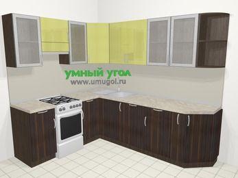 Кухни пластиковые угловые в современном стиле 6,8 м², 190 на 250 см, Желтый Галлион глянец / Дерево Мокка, верхние модули 72 см, посудомоечная машина, отдельно стоящая плита