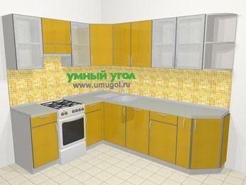 Кухни пластиковые угловые в современном стиле 6,8 м², 190 на 250 см, Желтый глянец, верхние модули 72 см, посудомоечная машина, отдельно стоящая плита