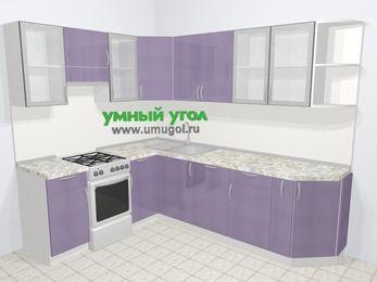 Кухни пластиковые угловые в современном стиле 6,8 м², 190 на 250 см, Сиреневый глянец, верхние модули 72 см, посудомоечная машина, отдельно стоящая плита