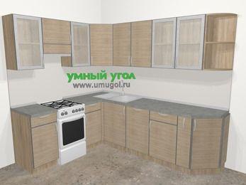 Кухни пластиковые угловые в стиле лофт 6,8 м², 190 на 250 см, Чибли бежевый, верхние модули 72 см, посудомоечная машина, отдельно стоящая плита