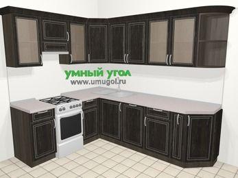 Угловая кухня МДФ патина в классическом стиле 6,8 м², 190 на 250 см, Венге, верхние модули 72 см, посудомоечная машина, отдельно стоящая плита