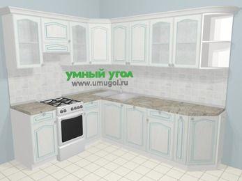 Угловая кухня МДФ патина в стиле прованс 6,8 м², 190 на 250 см, Лиственница белая, верхние модули 72 см, посудомоечная машина, отдельно стоящая плита
