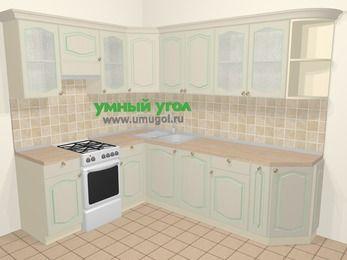 Угловая кухня МДФ патина в стиле прованс 6,8 м², 190 на 250 см, Керамик, верхние модули 72 см, посудомоечная машина, отдельно стоящая плита