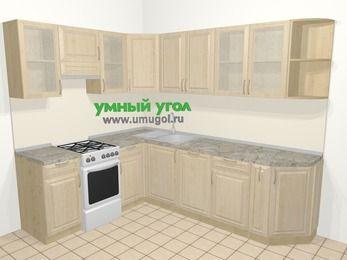 Угловая кухня из массива дерева в классическом стиле 6,8 м², 190 на 250 см, Светло-коричневые оттенки, верхние модули 72 см, посудомоечная машина, отдельно стоящая плита