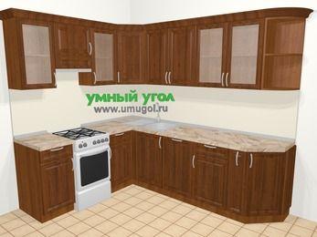 Угловая кухня из массива дерева в классическом стиле 6,8 м², 190 на 250 см, Темно-коричневые оттенки, верхние модули 72 см, посудомоечная машина, отдельно стоящая плита