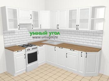 Угловая кухня из массива дерева в скандинавском стиле 6,8 м², 190 на 250 см, Белые оттенки, верхние модули 72 см, посудомоечная машина, отдельно стоящая плита