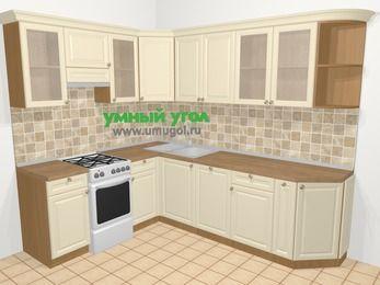 Угловая кухня из массива дерева в стиле кантри 6,8 м², 190 на 250 см, Бежевые оттенки, верхние модули 72 см, посудомоечная машина, отдельно стоящая плита