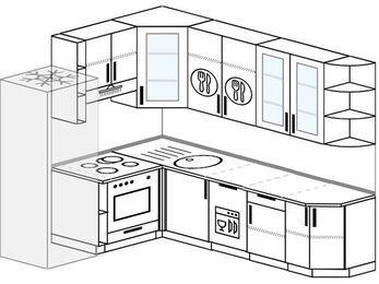 Угловая кухня 6,8 м² (1,9✕2,5 м), верхние модули 92 см, посудомоечная машина, встроенный духовой шкаф, холодильник
