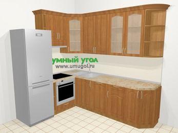 Угловая кухня МДФ матовый в классическом стиле 6,8 м², 190 на 250 см, Вишня, верхние модули 92 см, посудомоечная машина, встроенный духовой шкаф, холодильник