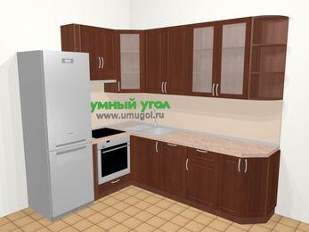 Угловая кухня МДФ матовый в классическом стиле 6,8 м², 190 на 250 см, Вишня темная, верхние модули 92 см, посудомоечная машина, встроенный духовой шкаф, холодильник