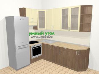 Угловая кухня МДФ матовый в современном стиле 6,8 м², 190 на 250 см, Ваниль / Лиственница бронзовая, верхние модули 92 см, посудомоечная машина, встроенный духовой шкаф, холодильник