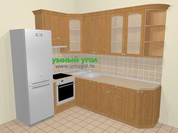 Угловая кухня МДФ матовый в стиле кантри 6,8 м², 190 на 250 см, Ольха, верхние модули 92 см, посудомоечная машина, встроенный духовой шкаф, холодильник