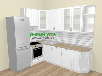 Угловая кухня МДФ матовый  в скандинавском стиле 6,8 м², 190 на 250 см, Белый, верхние модули 92 см, посудомоечная машина, встроенный духовой шкаф, холодильник