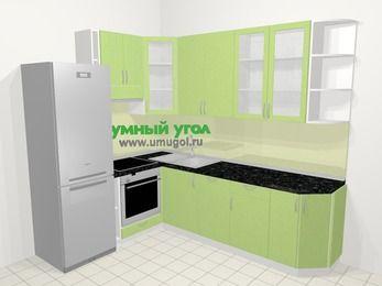 Угловая кухня МДФ металлик в современном стиле 6,8 м², 190 на 250 см, Салатовый металлик, верхние модули 92 см, посудомоечная машина, встроенный духовой шкаф, холодильник