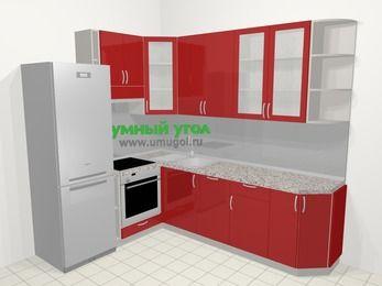 Угловая кухня МДФ глянец в современном стиле 6,8 м², 190 на 250 см, Красный, верхние модули 92 см, посудомоечная машина, встроенный духовой шкаф, холодильник