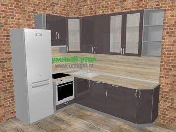 Угловая кухня МДФ глянец в стиле лофт 6,8 м², 190 на 250 см, Шоколад, верхние модули 92 см, посудомоечная машина, встроенный духовой шкаф, холодильник
