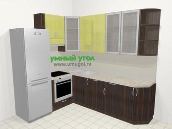 Кухни пластиковые угловые в современном стиле 6,8 м², 190 на 250 см, Желтый Галлион глянец / Дерево Мокка, верхние модули 92 см, посудомоечная машина, встроенный духовой шкаф, холодильник