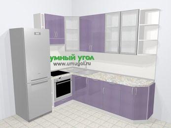 Кухни пластиковые угловые в современном стиле 6,8 м², 190 на 250 см, Сиреневый глянец, верхние модули 92 см, посудомоечная машина, встроенный духовой шкаф, холодильник