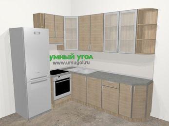 Кухни пластиковые угловые в стиле лофт 6,8 м², 190 на 250 см, Чибли бежевый, верхние модули 92 см, посудомоечная машина, встроенный духовой шкаф, холодильник