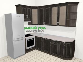 Угловая кухня МДФ патина в классическом стиле 6,8 м², 190 на 250 см, Венге, верхние модули 92 см, посудомоечная машина, встроенный духовой шкаф, холодильник