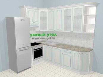 Угловая кухня МДФ патина в стиле прованс 6,8 м², 190 на 250 см, Лиственница белая, верхние модули 92 см, посудомоечная машина, встроенный духовой шкаф, холодильник