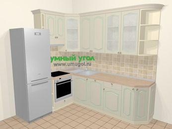 Угловая кухня МДФ патина в стиле прованс 6,8 м², 190 на 250 см, Керамик, верхние модули 92 см, посудомоечная машина, встроенный духовой шкаф, холодильник