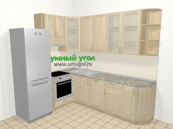 Угловая кухня из массива дерева в классическом стиле 6,8 м², 190 на 250 см, Светло-коричневые оттенки, верхние модули 92 см, посудомоечная машина, встроенный духовой шкаф, холодильник