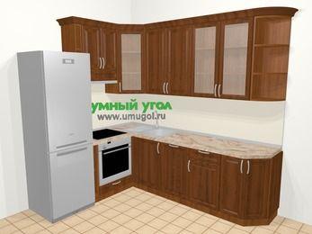 Угловая кухня из массива дерева в классическом стиле 6,8 м², 190 на 250 см, Темно-коричневые оттенки, верхние модули 92 см, посудомоечная машина, встроенный духовой шкаф, холодильник