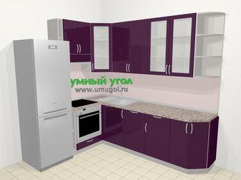 Угловая кухня МДФ глянец в современном стиле 6,8 м², 190 на 250 см, Баклажан, верхние модули 92 см, посудомоечная машина, встроенный духовой шкаф, холодильник