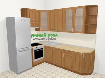 Угловая кухня МДФ патина в классическом стиле 6,8 м², 190 на 250 см, Ольха, верхние модули 92 см, посудомоечная машина, встроенный духовой шкаф, холодильник