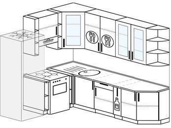 Угловая кухня 6,8 м² (1,9✕2,5 м), верхние модули 92 см, холодильник, отдельно стоящая плита
