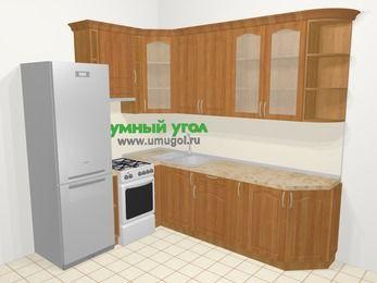 Угловая кухня МДФ матовый в классическом стиле 6,8 м², 190 на 250 см, Вишня, верхние модули 92 см, холодильник, отдельно стоящая плита